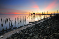 Ray (Shahrulnizam KS) Tags: ocean longexposure sunset urban sun seascape beach nature rock photography pier wooden amazing asia jetty tranquility slowshutter moment hitech tranquil johor lansdscape rayoflight leadingline senggarang shahrulnizamks pantaisungailurus