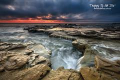 Chalkies (Kiall Frost) Tags: ocean blue red orange white seascape color colour beach water yellow sunrise print landscape flow photo nikon rocks image australia nsw chalkies kiallfrost d800e