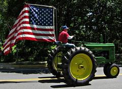 tractor virginia mainstreet flag americanflag va farmer newtown memorialday johndeere usflag usaflag stephenscity stephensburg newtownheritagefestival