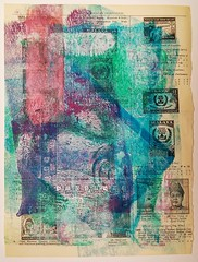 Gelli Print of Stamp Catalogue Book Page (GillianPearce) Tags: stamps vintagebook bookpages gelliprint gelliplate