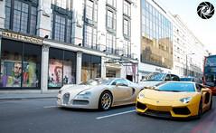 DMC Aventador & Bugatti (PastPhotography1) Tags: london cars car sport yellow speed cool cream fast bugatti lamborghini aventador supercarlondon