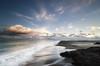 Border Control (Nick Twyford) Tags: longexposure sunset sea newzealand seascape beach clouds blacksand nikon rocks wideangle auckland nz northisland westcoast whatipu lateafternoonlight colourimage leefilters 1024mm d7000 ninepinrock lee09nd lee06gndhard lee06gndsoft