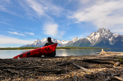 Kayaking Jackson Lake in the Grand Tetons (Dr_Moriarty) Tags: blue red mountains water boat nationalpark kayak unitedstates roadtrip wyoming grandtetons moran colterbay 2013