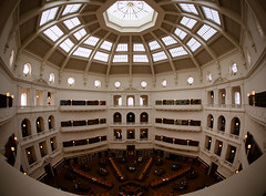 "Victoria's State Library dome - Samyang fisheye lens • <a style=""font-size:0.8em;"" href=""http://www.flickr.com/photos/44919156@N00/9398845099/"" target=""_blank"">View on Flickr</a>"