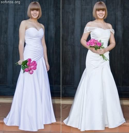Dois vestidos de noiva tomara que caia