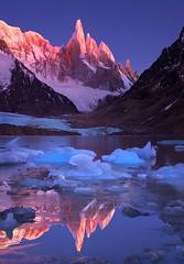 Crimson Crags, Cerro Torre, Patagonia. (AndersonImages) Tags: patagonia mountain reflection argentina sunrise peak icebergs michaelanderson losglaciares elchalten cerrotorre