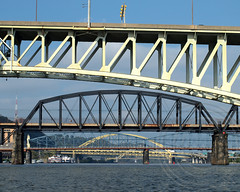 Monongahela River Bridges, Pittsburgh, Pennsylvania (jag9889) Tags: bridge river pittsburgh crossing pennsylvania pa kayaking paddling waterway roadway monongahelariver penndot libertybridge fortpittbridge smithfieldstreetbridge alleghenycounty 2013 panhandlebridge jag9889