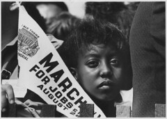 Photograph of a Young Woman at the Civil Rights March on Washington, D.C. with a Banner, 08/28/1963