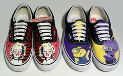 MiaSnow Painted Vans Shoes Marilyn and Minions (MiaSnow) Tags: art shoes paint acrylic graphic painted marilynmonroe kicks commission decorated minions fabricpaint miasnow paintedvans theminions laceupvans