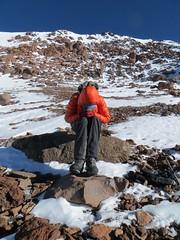 Warming hands at 6300m on Bonete