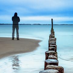 Me (thierry.vanhuysse) Tags: longexposure blue sea sky people selfportrait seascape nature water bulb landscape sand waves zen poles ndfilter