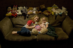 4. The Shot! (paulquance) Tags: bear family portrait girl smile kids portraits happy chair teddy olivia sister bears daughter fran cheeky sofa liv frances livi quance facesofportraits quances