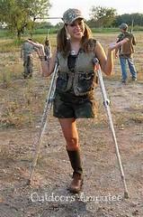 Camo Lady (stripesocks) Tags: outdoors skirt camo crutches amputee legamputee crutchamputee huntingskirtboot
