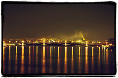 Through periscope (Nihil Baxter007) Tags: bridge water colors night river germany deutschland lights mirror wasser nebel view nightshot nacht spiegel submarine brcke fluss rhine rhein mainz spiegelung blick rheinland pfalz lichter periscope mirroring uboot nautik farbem periskop