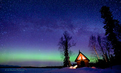 Cabins Glow (Ed Boudreau) Tags: winter snow alaska nightsky northernlights auroraborealis milkyway trappercreek
