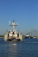 Starting the turn (GLC 392) Tags: sunset lighthouse lake car ferry michigan lakes tourist badger tug lower shipping pure barge spartan lmc ludington defiance ashtabula