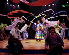 "Max von Essen as Joseph (center) and the ensemble in the 2010 Music Circus production of ""Joseph and the Amazing Technicolor Dreamcoat"" at the Wells Fargo Pavilion July 20-25.  Photo by Charr Crail."
