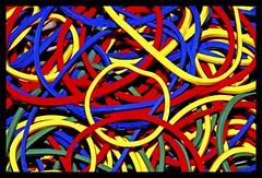 Rubber Bands #1 (shots #94). Replaced. (like jazz) Tags: color colour tripod f45 cropped cs4 remoterelease mll3 colourbalance nikond90 tokina100mmmacrof28 micromacrocloseup sb400modbounced