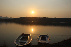 IMG_7156(1) (The World Through My Lense) Tags: sunset india lake reflection landscape boats dock maharashtra bhandardara