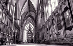 York Minster (robin denton) Tags: yorkminster farming york interior church cathedral monochrome hdr aisle historicbuildings building