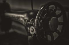 9/52: Sew... [Explored] (judi may) Tags: 52weekchallenge sewingmachine vintage antique old monochrome mono blackandwhite bokeh dof depthoffield sepia canon7d metal 100xthe2017edition 100x2017 image27100 teanau newzealand