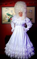 Big-Haired Sissy Bride (jensatin4242) Tags: sissy crossdresser transvestite jensatin frilly sissybride satingown whitesatin bridalgown bighair