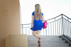 the girl with the blue dress (FedeSK8) Tags: blue italy girl dress shot blonde stolen rosso redshoes bluedress bionda capannelle