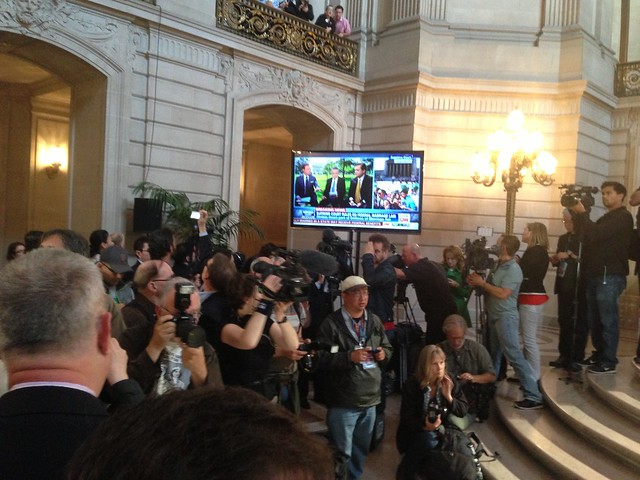 Cheers at City hall as @jaketapper @JeffreyToobin says #Doma is no more #scotus #prop8 #lgbt