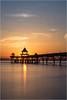 Clevedon Sunset (Chris Beard - Images) Tags: blue sunset sea orange sun sunlight seascape water reflections landscape coast pier colours dusk july somerset structure clevedon bristolchannel clevedonpier