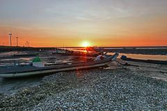 shell boat sunset (Thunderbolt_TW) Tags: sunset sea sky sun reflection water windmill canon landscape taiwan     windturbine  changhua       hsienhsi  5d2 changpingindustryarea