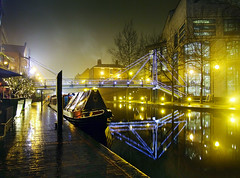 Brindleyplace, Birmingham (Beardy Vulcan) Tags: city bridge winter england urban reflection wet water rain night lights march boat canal birmingham nocturnal footbridge path bcn complex watercraft citycentre westmidlands narrowboat brum canalboat drizzle brindleyplace mizzle 2013 theunforgettablepictures bcnmainline