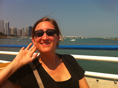 Jessica on a boat