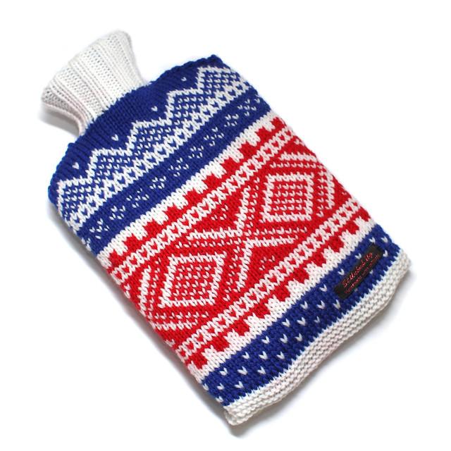 Hand knit Norwegian ski hot water bottle cover – blue/red/white