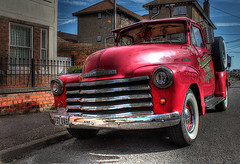 Chevy Pickup + Poster Edges (Lee Nichols) Tags: greatbritain red england chevrolet pickup pickuptruck chevy hdr posteredges chevypickup waltononthenaze photomatix tonemapped tonemapping handheldhdr cmwd cmwdred advancedesign canoneos600d
