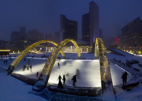 Skating at Toronto City Hall