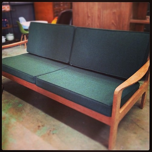 #vintage 3-seater #teak #sofa with new upholstery in #understated #bottlegreen tweed. #likethatone #vintagefurniture #Singapore