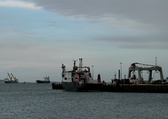 Unusual Shipping Mix At Kirkwall (orquil) Tags: uk winter ferry islands bay scotland pier orkney harbour crane ships january lone shipping barge kirkwall mv heavylift gm700 earlthorfinn