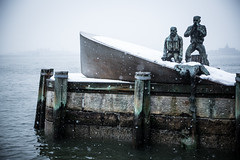 Snowy boat. (@TheKnollGuy) Tags: park old newyork men monument statue island boat ellis united battery raft states helping capsize overboard