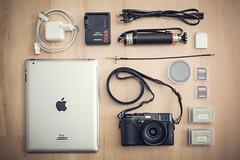 My Travel Kit (Adam Haranghy) Tags: camera new york travel 2 paris adam london bag photography fuji stockholm whats small battery fujifilm kit whatsinmybag charger reise ipad x100 reisegepck haranghy