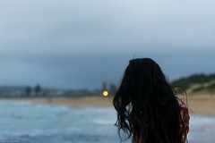 (danielle kiemel) Tags: ocean sea summer portrait people selfportrait beach me water girl youth night lost outdoors freedom evening holidays solitude photographer wind bokeh young longhair free australia nsw newsouthwales faceless bluehour february centralcoast breeze longing 50mmf14 2014 wamberal daniellekiemel wamberalbeach nikond7100