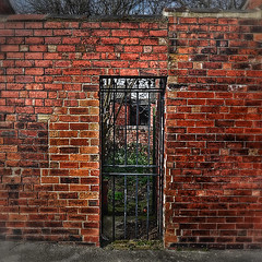 Secret gate Hyde Park (SMeighan) Tags: park red garden gate colours secret bricks leeds hyde hydepark 2014