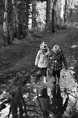 Puddles (lesage1981) Tags: england nature forest canon walking children eos rebel 50mm child cheshire 18 puddles wellies xsi delemere 450d flickrandroidapp:filter=none