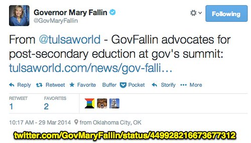 Latest Tweet from Oklahoma Governor Mary by Wesley Fryer, on Flickr