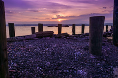 Another Hudson shot from Nyack Memorial Park (cosmoguy1) Tags: morning pink lake blur water colors stone sunrise river lens dawn early nikon rocks colorful purple smooth blurred valley hudson kit tone d5300