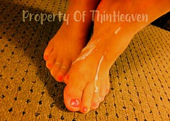 That got messy pretty quick! I caught what I could but it he lost it without warning. Mmmmmm yum ThinHeaven@hotmail.com (thinheaven) Tags: footjob pantyhose cum nylon toes feet polished painted pedicure toering