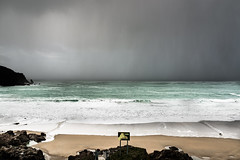Time to cover up! Incoming shower ... (paulfranklinjsy) Tags: seascape wave rain squall wind