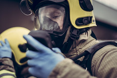 Hazmat Assessments (Cheshire Fire and Rescue Service) Tags: cheshire fire rescue service hazmat firefighter applicant team working rain breathing apparatus ba smoke water nuclear