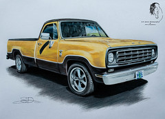 """""""Dodge Ram Custom Edition"""" Commission (© S. D. 2010 Photography) Tags: vehicle car truck pickup 80s dodge ram mopar custom edition gold twotoned art painting drawing sketch color pencil handdrawn commission"""