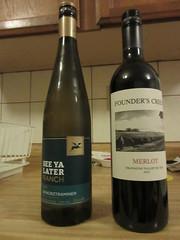 Weekend wines (jamica1) Tags: wines okanagan bc british columbia canada bottles gewurztraminer merlot see ya later founders creek
