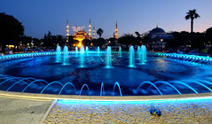 Blue Mosque in Istanbul, Turkey (` Toshio ') Tags: toshio istanbul turkey bluemosque mosque building fountain blue sunset palmtree turkish sultanahmedmosque sultanahmetmosque fujixe2 xe2